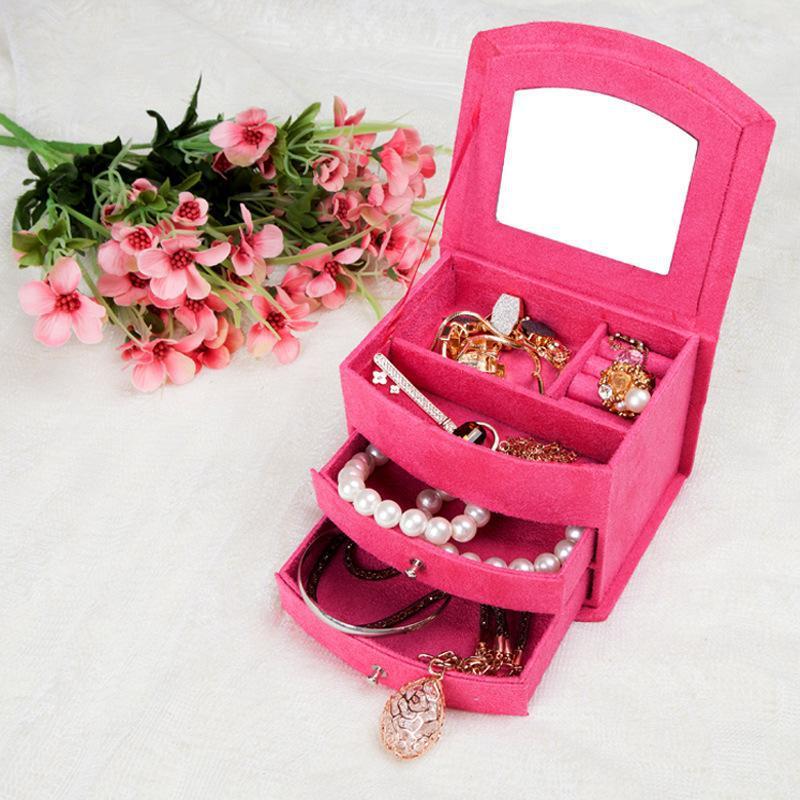 1pc/lot Three Drawers Flock Jewelry Storage Box Casket Caja de Joyas Present box Caixa de presente Jewellery Gifts Boxes(China (Mainland))