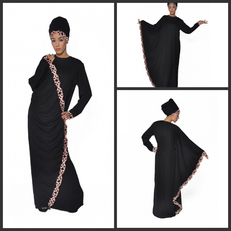 2014 abaya kaftan dubai Jewel Embriodery Long sleeve Black Long muslim dress(China (Mainland))