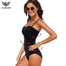 NAKIAEOI One Piece Swimsuit 2017 New Plus Size Swimwear Women Print Solid Swimwear Vintage Retro Bathing Suits Monokini Swimsuit(China (Mainland))