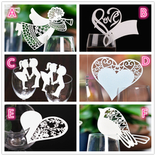 Buy 50 Pcs Bird Angle Heart Shape Wine Glass Card Laser Cut Escort Cup Name Place Card Birthday Party Wedding Decorations home for $2.44 in AliExpress store