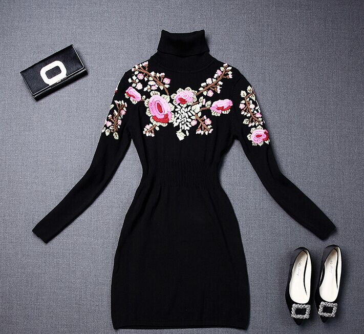 2016 Autumn/Winter RTW Vogue Dress Embroidery Black Dress S to XL Haute Couture Best Quality Free ShippingОдежда и ак�е��уары<br><br><br>Aliexpress