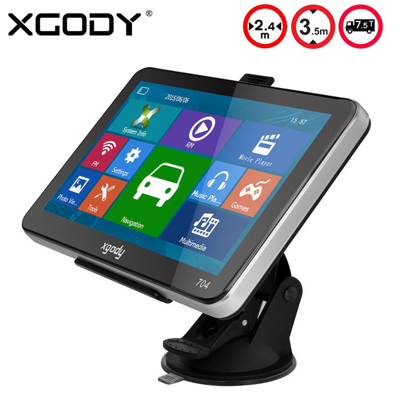 XGODY 704 7 inch Car Truck GPS Navigation 8GB Sat Nav Navigator 2015 Europe India Map Navitel Russia Map with Sun Shade(China (Mainland))