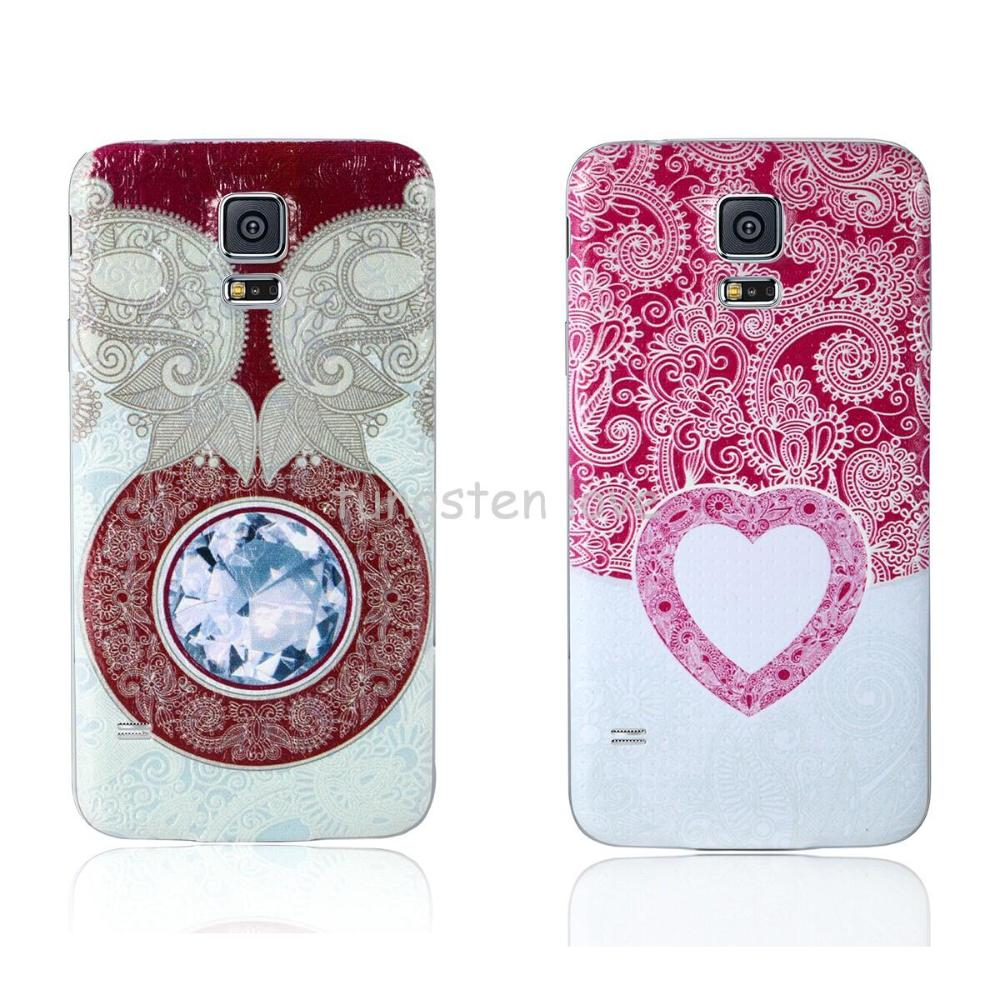 Red & Pink Heart Battery Door Back Housing Cover Case Back Cover For Samsung Galaxy S5 Drop Shipping Christmas Gift(China (Mainland))