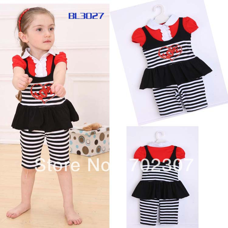 WHOLESALE girls striped 3 pieces suit, ,casual sets.1 lot/5sets FREE SHIPPING OP-322<br><br>Aliexpress