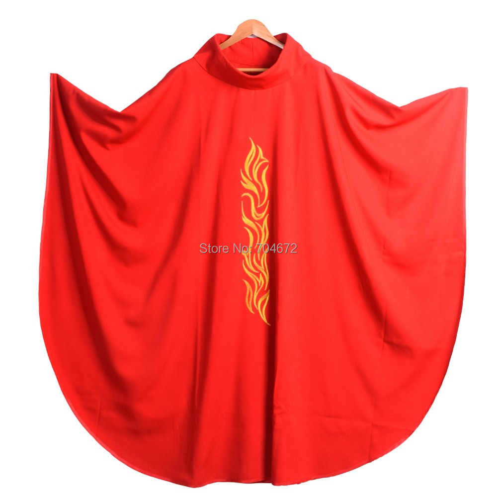 Red Embroidered Catholic Church Priest Chasuble Vestments Robe w Roll Collar J0411(China (Mainland))