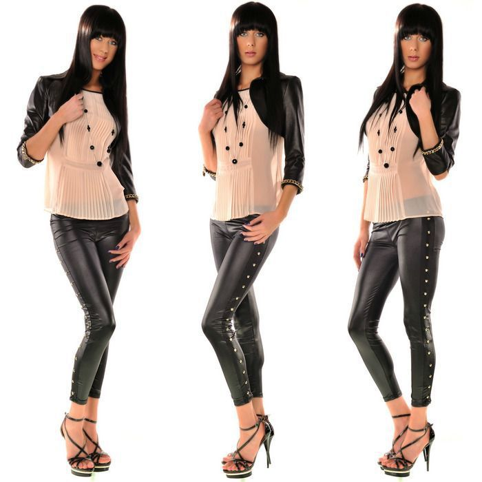 2014 Gorgeous Leather look design leggings with side seam stud feature 7R8397-1 Free shipping girls sexy leather leggings(China (Mainland))