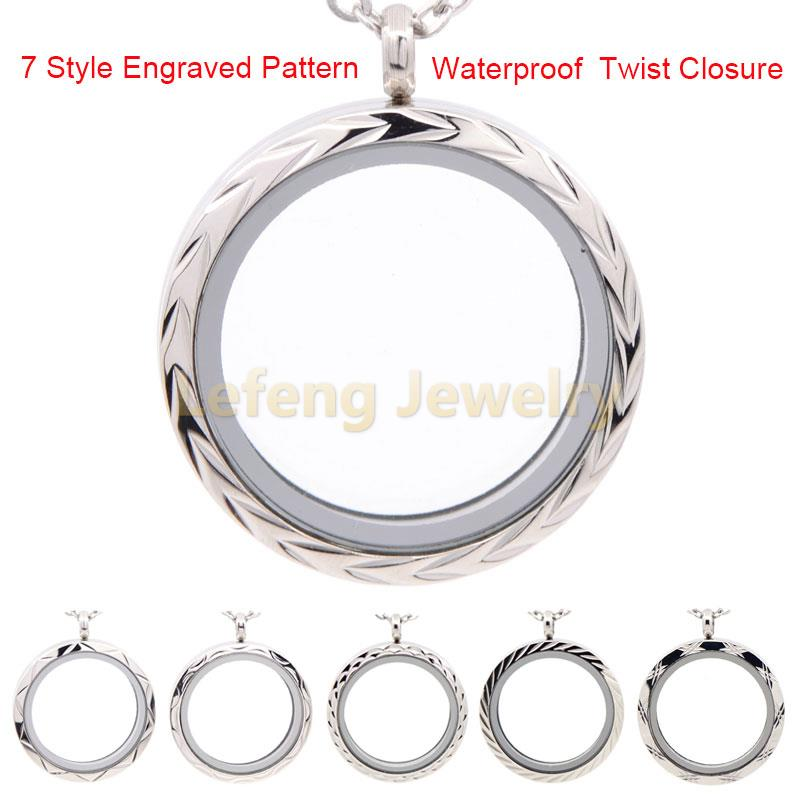 New Design 30mm Waterproof Plain Brushed Silver Floating Locket,316L Stainless Steel Twist Memory Glass Lockets Pendant P164(China (Mainland))