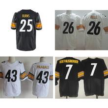 cheap hot sale Mens #25 Artie Burns #43 Troy Polamalu #7 Ben Roethlisberger #26 Bell White Black Elite Stitched Logos(China (Mainland))