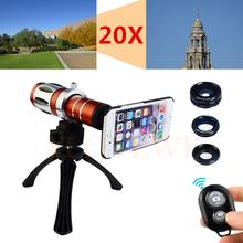Buy Camera Lentes Kit 20x Zoom Telephoto Telescope+Tripod+Fisheye Wide Angle Macro Lens Samsung Galaxy S4 S5 S6 S7 edge NOTE 5 for $69.41 in AliExpress store