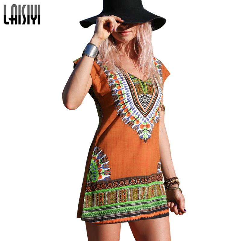 Laisiyi Women Print Africa Ethnic Dashiki Boho Dress Summer Short Sleeve Bodycon Mini Dresses Plus Size Clothing ASDR20098