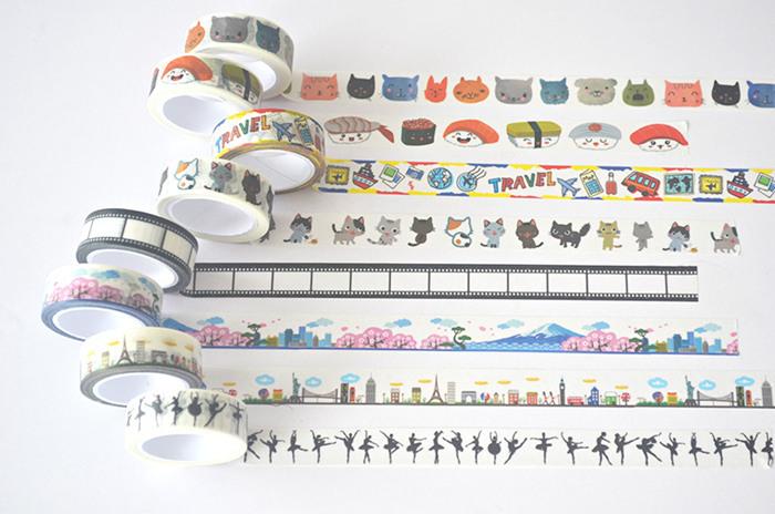 20 Pcs/lot LovelyDIY Japanese Paper Decorative Adhesive Tape Cartoon Washi Tape/Masking Tape Stickers Size 15mm*7m(China (Mainland))