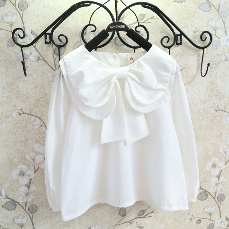 iYiya Baby Girls School Shirts Children Girls White Blouse 2016 New Solid Long Sleeves With Bow Kids Clothes 2-7 Years Old<br><br>Aliexpress