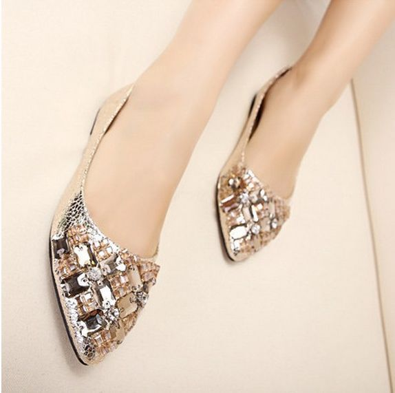 Low Price New 2014 Fashion Ladies Cute Super Rhinestone Ballet Casual Womens Shoes Black Glod Loafers Heel Comfort Flats - LALALA shops store