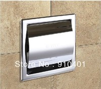 Free Shipping! Modern Square Polished Chrome Brass Toilet Paper Holder Tissue Box Wall Mounted