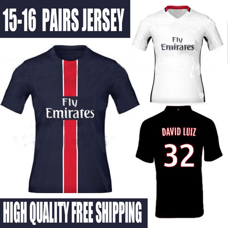 TOP Thai AAA 2016 Home High Quality Soccer Jersey SILVA Lucas LUIZ 2015 Football Shirt 15 16 Away White Maillot(China (Mainland))