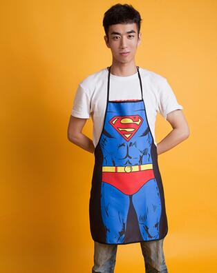 Hot selling Waterproof creative personality wacky wedding gift couple Superman the apron the Korean version of Ode to joy qy151(China (Mainland))