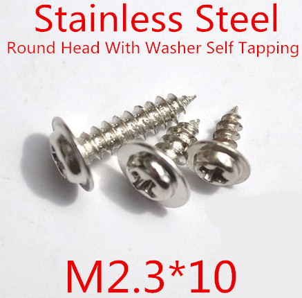 100pcs/lot M2.3*10mm 2.3mm Stainless Steel 304 Round Head With Washer Micro Self Tapping Screw Round washer head screw<br><br>Aliexpress