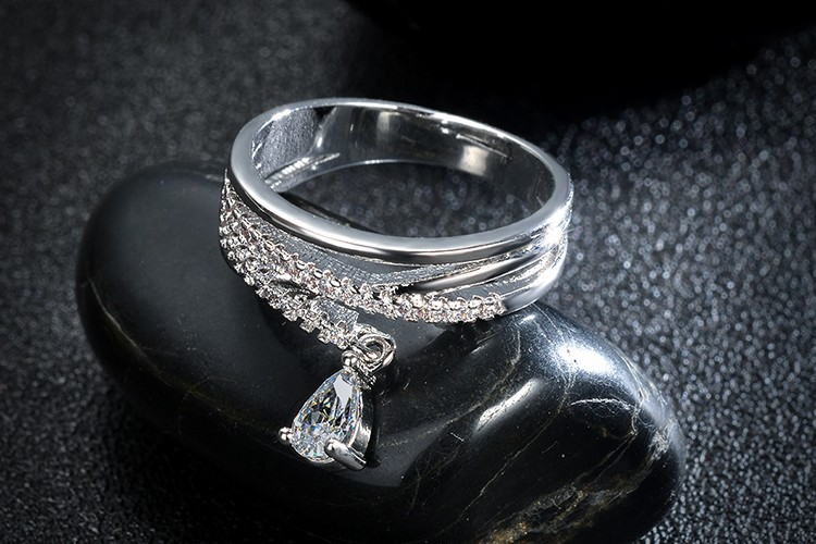 Anel FeМиниno Multilayer Cross Свадьба Crystal Water Drop Ring Anillos Mujer Fine Jewelry Zircon Rings For Женщины CS12
