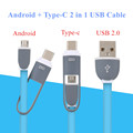 1m 2 in 1 Micro USB to Type c Cable Android Type c USB C Adapter