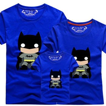 Family Shirts Set Knitted Short Sleeve Batman Character Print Father Boy Mother Girl Matching Clothing Sets