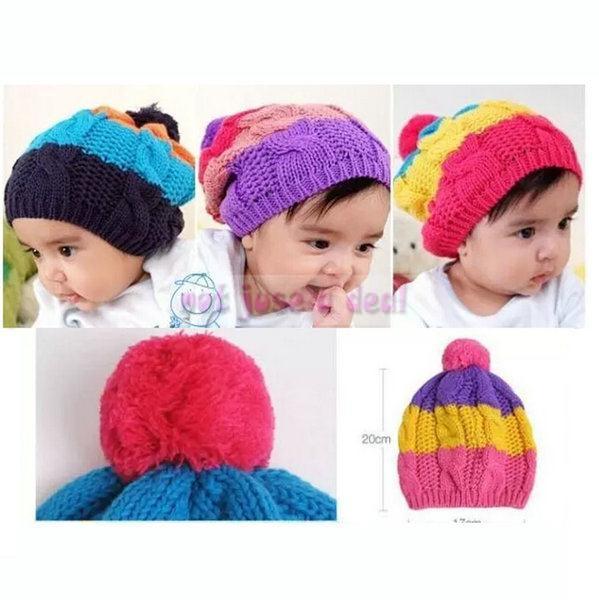 2014 New Baby Toddler Boy Girl Kids Winter Star Knit Warmer Cap Beanie Hat Ball(China (Mainland))