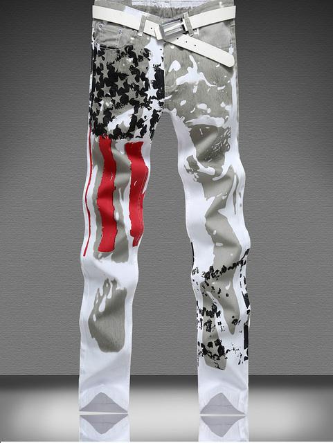 2016 новых прибыть моды для мужчин прямо тонкий дизайн печати джинсы осень весна ...