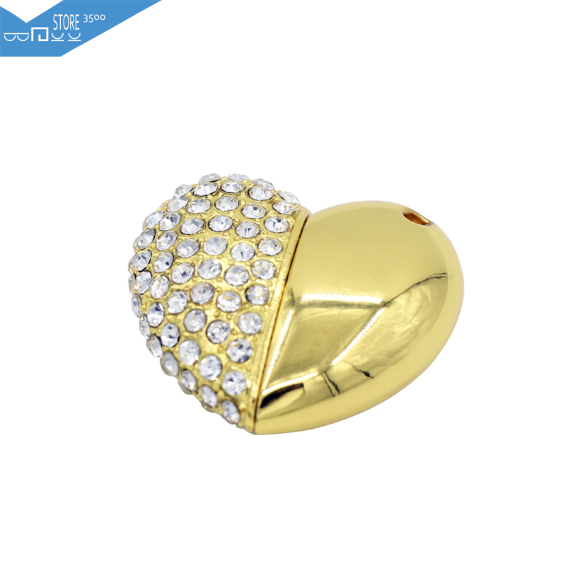 2015 Fashion 3500 High Speed Jewelry Crystal Heart 8GB 16GB 32GB Pen Drive Pendrive USB Flash Drive For PC Free Shipping(China (Mainland))