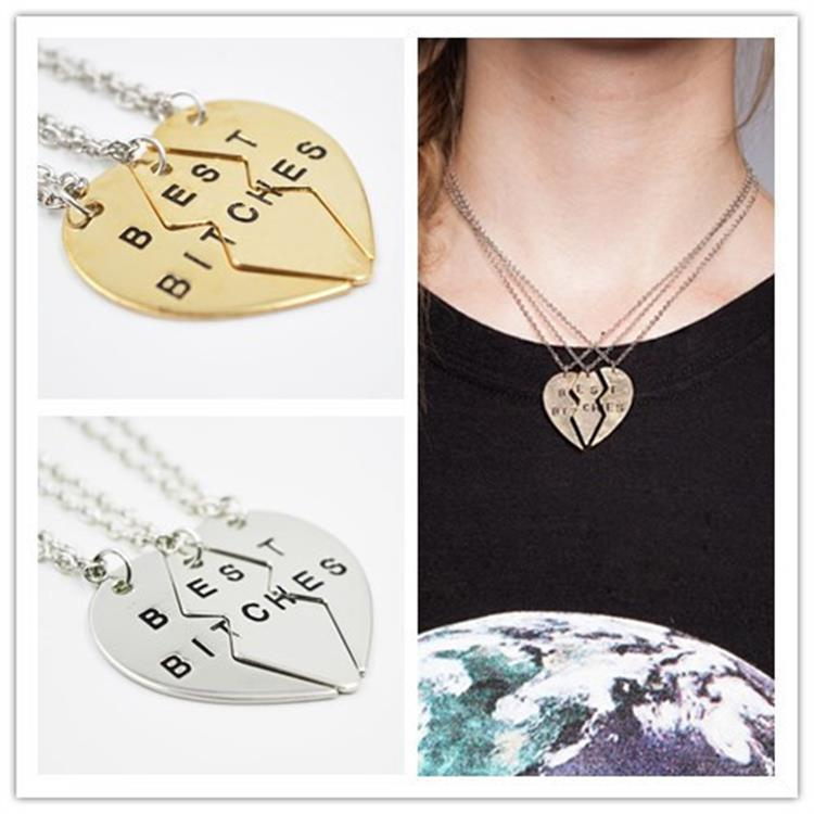 Best Sisters' Best Bitches Heart Broken Heart Necklaces For 3 Sisters Fashion Engraved Best Friends Necklaces(China (Mainland))