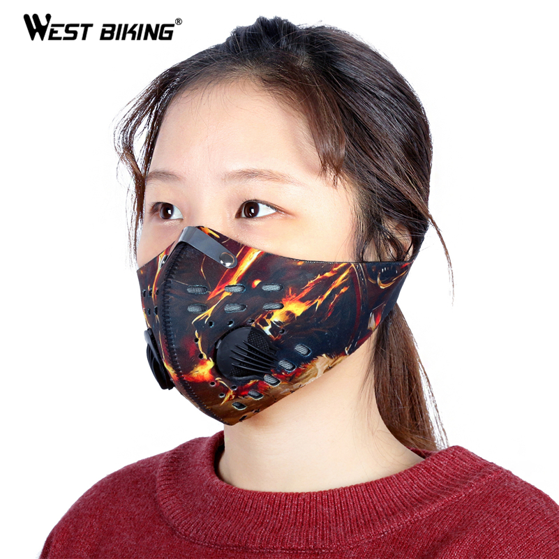 WEST BIKING Cycle Mask Motorcycle Bicycle Cycling Ski Neoprene Half Face Mask With Filter Unisex Activated Carbon Anti-Dust Mask(China (Mainland))
