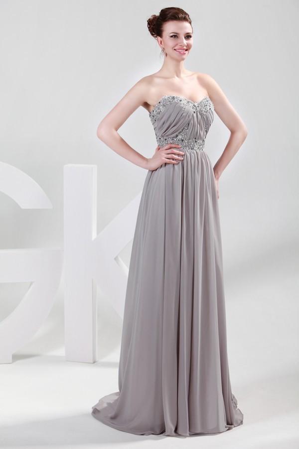 Grey Strapless Bridesmaid Dress - Wedding Dress Ideas