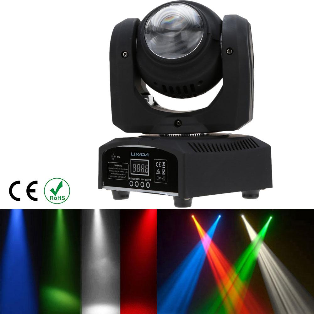 LIXADA 5LED EU/US/UK plug 50W RGBW LED Stage Light Double Sides 15/21 Channel DMX 512 Beam Wash Rotating Moving Head Disco Party(China (Mainland))