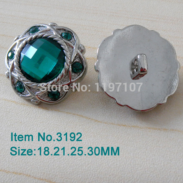 FREE SHIPPING,25mm144pcs/color/lot,44colors,LIMITED EDITION Vintage Acrylic Style Green Rhinestone Button In Sliver,3192-4R(China (Mainland))