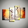 Abstract large decorative 4 piece art handmade oil painting on canvas wall art decor modern picture
