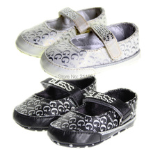 SanFu--NWT baby girl Gray  black and white leather first-walkers shoes toddler and home shoes size 2 3 4 in US freeshiping(China (Mainland))