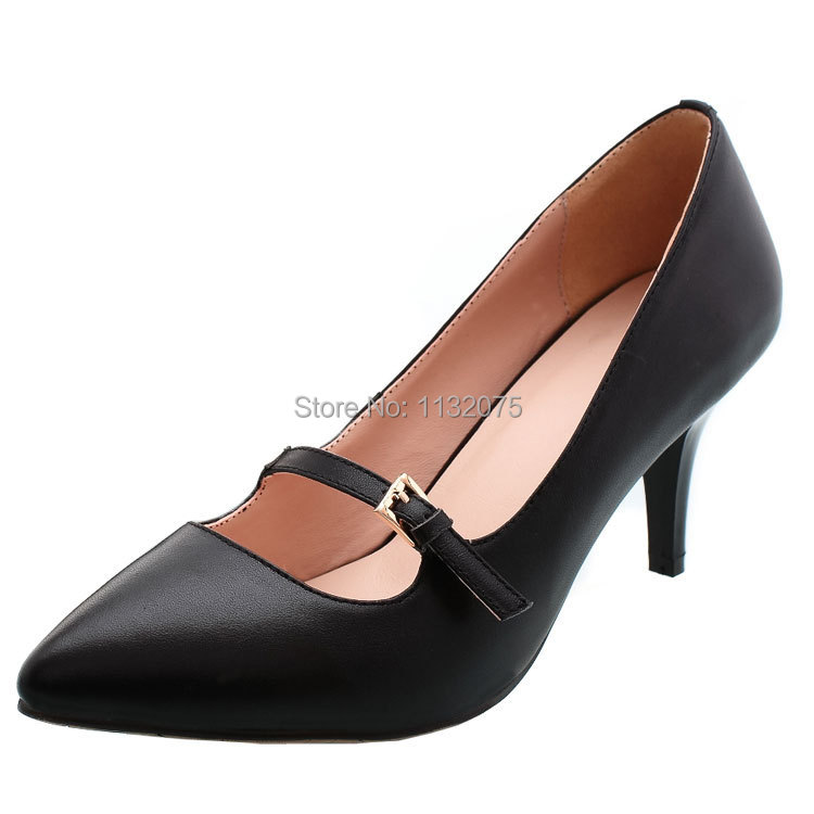 Genuine Leather Women Pumps 2015 Size 5 Heels Closed Toe Ankle Strap Low Heel Pumps Stiletto Pointed Heels Black Mary Jane Pumps(China (Mainland))