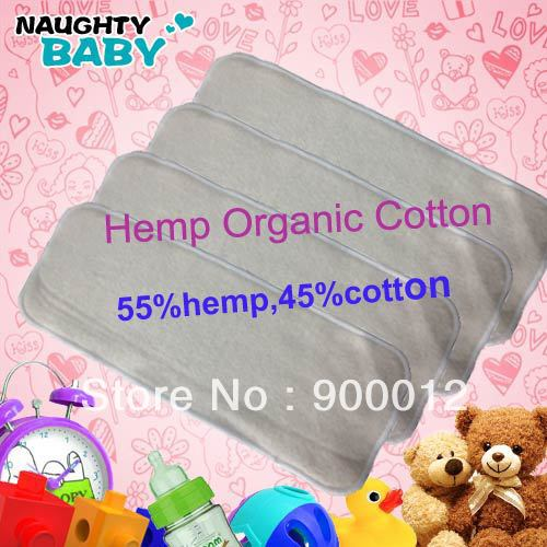 Wholesale-Naughty Baby Hemp Organic cotton  3 Layers 300 Pcs Reusable Baby Cloth Diaper Nappy inserts FEDEX free shipping<br><br>Aliexpress