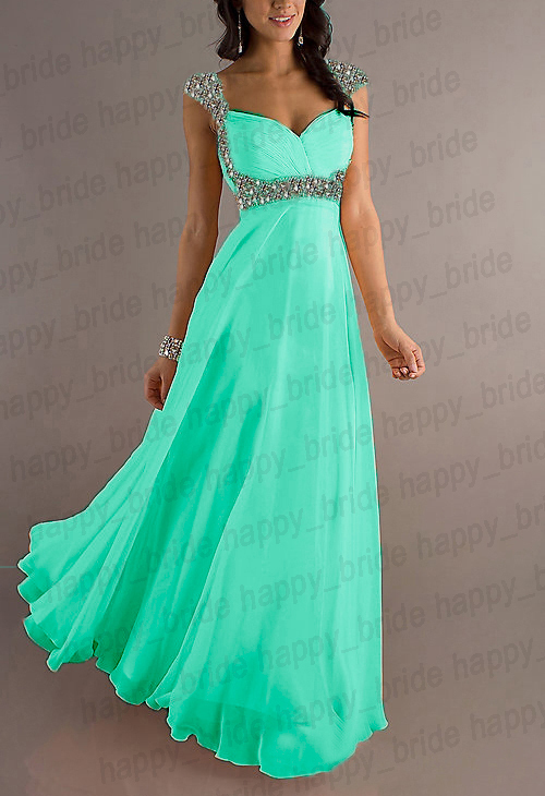2013A-1 New Long Chiffon Strap Bridesmaid Formal Party Ball Gown Prom Dress