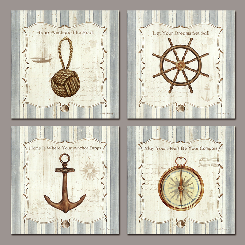 Retro 4pcs/set still life compass anchor sail soul decoration wall art pictures Canvas Painting print for living room unframed(China (Mainland))