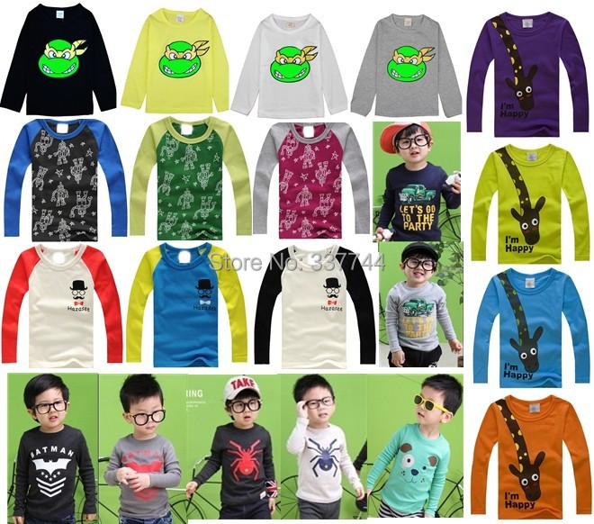 New 2015 boys baby girls nova kids T-shirts, cotton long sleeve children t shirts cute animal candy color cartoon t-shirt()