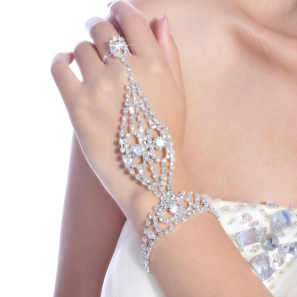 2015 New Arrial Wholesale/Retail Lady Chain Rings Bracelet & Bangles Wedding Bridal Jewelry Fashion for bridal wedding accessory(China (Mainland))
