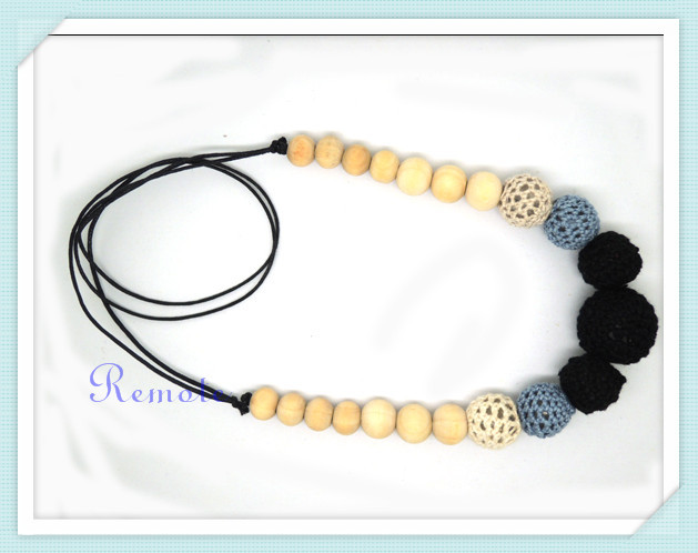 Hot Chunky statement necklace Dark necklace nursing necklace wood crochet toy, Black Grey Coffee NW1398(China (Mainland))