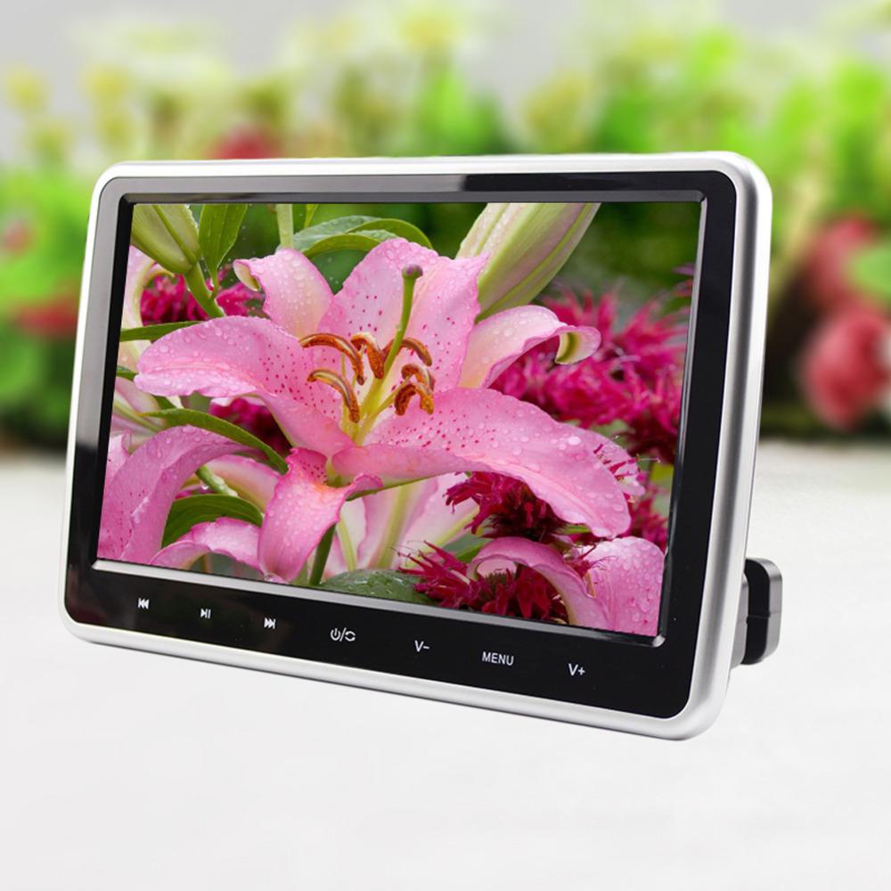 Silver 10'' Car Headrest DVD Player LCD Screen Monitor Universal Digital Screen Car Monitor USB FM TV Game USB SD FM TV Radio