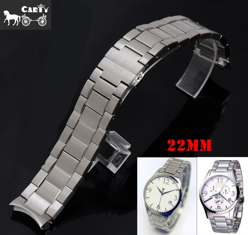 Watch Strap 22MM T028 New Parts Male Silver Solid Stainless Steel Bracelet Bands