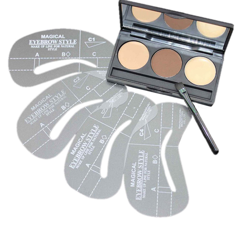 1Set Hot 3 Color Makeup Eyebrow Powder Eyebrows Shaping Powder Palette And 4 Stencils Eyebrow Wax Makeup Kit Cosmetics Tools(China (Mainland))