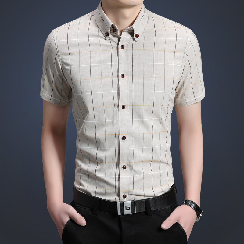 Mens casual plaid shirt 100 cotton health antibacterial for Men s 100 percent cotton dress shirts