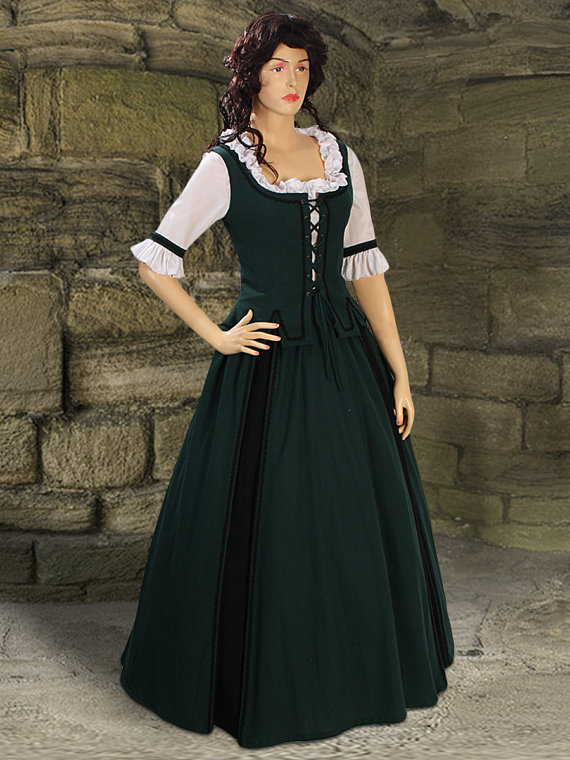 Medieval Costume Gown Country Natural Cotton handmade Maiden Gown Renaissance Clothing(China (Mainland))