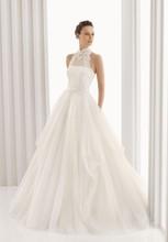 Boho Lace Wedding Dress Empire A-Line 2015 Sleeveless Hot Sale Fashionable Ivory Long Plus Size Wedding Dress Halter Neck(China (Mainland))