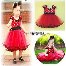 Promo! 2014 newest Christmas baby dress, white dot red Minnie vest dress 0~2 years old baby girl new year clothes(China (Mainland))