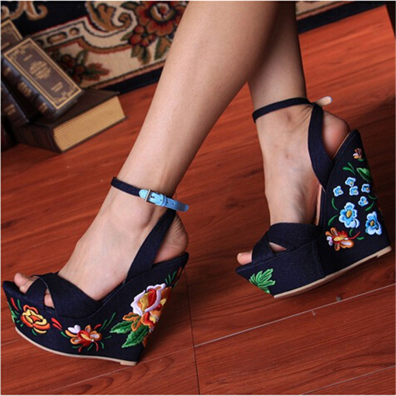 Blue Denim Sandals Folk Flower Embroideried Fabric Wedge Gladiator Sandals Women Platform Sandals Wedding Shoes Woman Sandalias(China (Mainland))