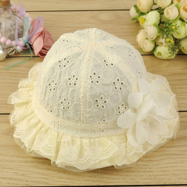 Lovely Baby Hollow Sun Cap Headwear Pure Color Lace Sunshade Summer Flower Hat Pink Blue Yellow